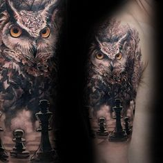 Lifelike colored shoulder tattoo of creepy owl with chess board