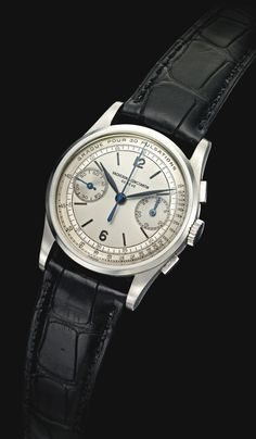 Vacheron Constantin watch chronograph vintage black crocodile white dial