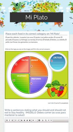 "Wizer.Me​ blended worksheet ""Mi Plato"" ."