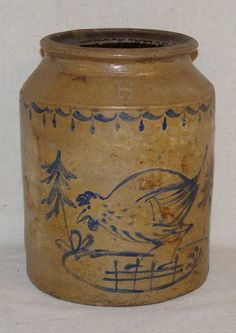 194: Blue Decorated Stoneware Jar : Lot 194