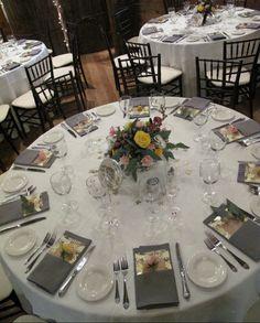 wedding details, Vermont Wedding Flowers, Table setting, napkin flowers, yellow, pink and white wedding flowers via floralartvt.com