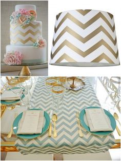 chevron + teal + gold wedding (I like this for a party as well)