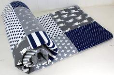 Baby Boy Blanket, Nursery Decor, Minky Blanket, Woodland Nursery, Navy Blue, Charcoal Grey, Gray, Steel, Deer, Buck, Fawn, Arrows, Tribal