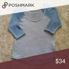 Cozy Free People 3/4 Sleeve Tee Relaxed fit, off the shoulder, like new condition Free People Tops Tees - Long Sleeve