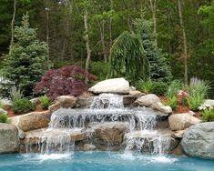 Backyard Pool Landscaping, Backyard Pool Designs, Swimming Pools Backyard, Ponds Backyard, Swimming Pool Designs, Garden Pond Design, Pool Landscape Design, Swimming Pool Waterfall, Pool With Waterfall