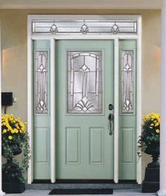Masonite Steel two panel door with Monaco glass and sidelites