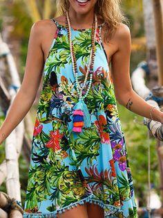 Bohemian Style Floral Print Open Back Beachwear Mini Dress