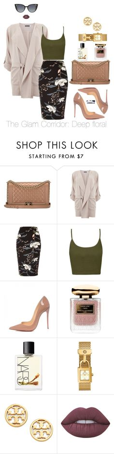 """""""Deep floral"""" by theglamcorridor ❤ liked on Polyvore featuring Chanel, Mint Velvet, River Island, Topshop, Christian Louboutin, Terry de Gunzburg, NARS Cosmetics, Tory Burch, Lime Crime and Fendi"""