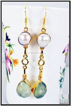 Black Onyx Blue Sapphire Cz Gemstone 18k Gold Plated Earrings L 1.5in Gpemul-5240 http://www.riyogems.com