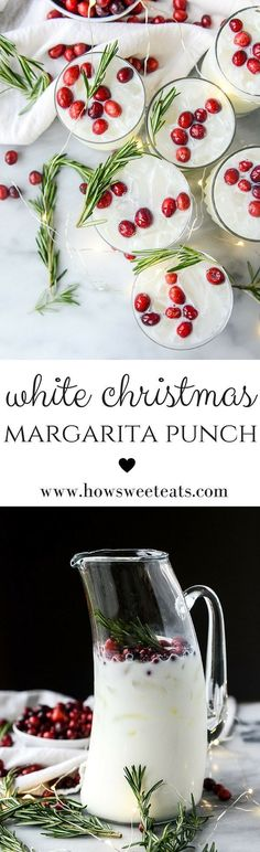 white christmas margarita punch I howsweeteats.com #christmas #cocktails #recipes
