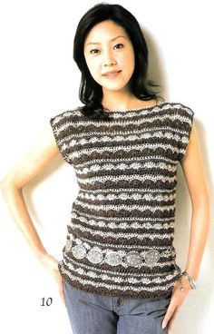 Crochet  a two-colour Top - all the diagrams at source