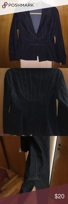 Bison bisou jean jacket Dark blue jean jacket used 1x too tight  fitted jacket  tight to waist. Can wear open  sleep is open slit  size true med.  look brand new no flaws at all !!! Bisou Bisou Jackets & Coats Jean Jackets