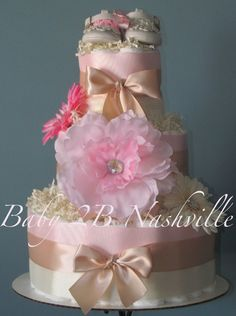 Diaper Cake for Girls Deluxe Pink Blush Baby by Baby2BNashville, $124.00