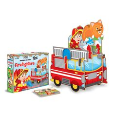 #Sassi Junior: Firefighters - Assemble and Build. Giant 3D puzzle with a 10-pages book. #eco #friendly #book #game
