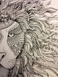 Discover thousands of images about Lion zentangle Animal Drawings, Art Drawings, Pinterest Tattoo Ideas, Mandalas Drawing, Lion Art, Zentangle Patterns, Zentangles, Doodle Art, Lions