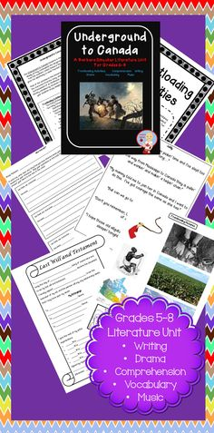 57 page Underground to Canada unit based on the book by Barbara Smucker.  Includes frontloading, writing, comprehension, drama, music  vocabulary activities.