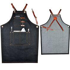 Black Denim Bib Apron w/ Leather Straps Barber Barista Florist Bartender Chef Uniforms Carpenter Baker Home BBQ Workwear K18