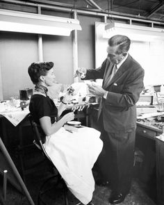 Walt Disney with Harriet Burns, the first woman hired by Walt Disney Imagineering