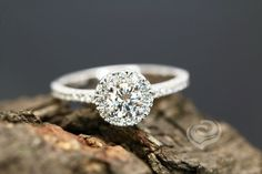 FOREVER ONE Certified 5mm/0.50 Carats Round Cut Moissanite 14K White Gold Diamond Halo Engagement Ring (Other Metal & Stone Available) by loveforeverjewelrysv on Etsy
