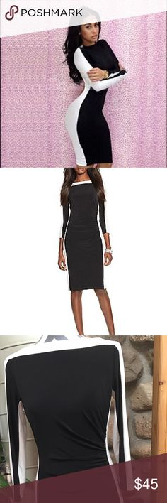 Polo Ralph Lauren's dress Polo Ralph Lauren's women's dress, size 4 , black and white dress, beautiful elegant dress, made to give an optical ilusión of being extra curvy and slim Polo by Ralph Lauren Dresses Midi