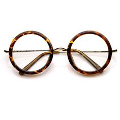 Womens Round Clear Lens Oversized Glasses w/ Metal Arms - 8792