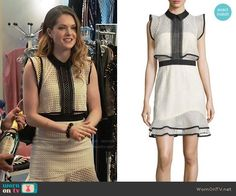 Self Portrait Sleeveless Lace Popover Mini Dress worn by Sutton (Meghann Fahy) on The Bold Type Fashion Tv, Work Fashion, Fashion Outfits, Classy Work Outfits, Modern Outfits, White Mini Dress, Complete Outfits, Black Trim, Style Inspiration