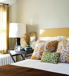 plain bedding and pretty pillows ... my favorite combo! #bedroom #pillows #yellow