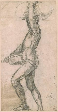 Andrea del Sarto | Young Man Taking a Step, with a Basket and Balancing a Sack. Verso: Three-Quarter View of the Same Figure | Drawings Online | The Morgan Library & Museum