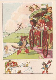 "Postcard Illustration by Goltz -- Charles Perrault ""Puss in Boots"" - 1956, Izogiz"