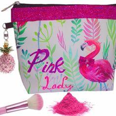 Une superbe trousse à maquillage ambiance tropique avec bijou ananas, #flamantrose , #flamingo , #troussedetoilette