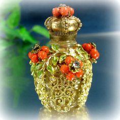 Vintage CZECH FILIGREE FLORAL Miniature Perfume by ShootingCreek
