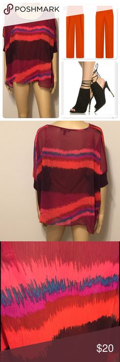 """Express multi colored dolman sleeve sheath Great with a beautiful bralette or cami. 100% polyester, armpit to armpit is 30"""" across & length is 23.5"""" Express Tops Blouses"""