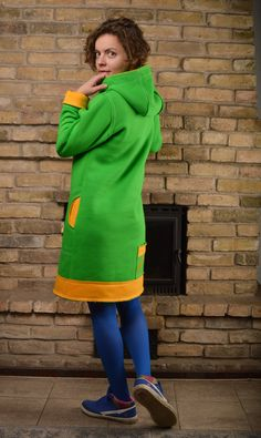 Welcome to Peushop. The Most Colorful Shop On Etsy!Two pockets in front, one back pocket. Measurements: ( The model's height is and she is wearin Casual Cotton Dress, Cotton Dresses, Warm Dresses, One Back, Hoodie Dress, How To Run Longer, Green Dress, Hoodies, Cozy