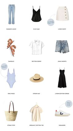 beach travel capsule wardrobe Jess Ann Kirby picks her summer capsule wardrobe picks for the season, including denim, linen and lots of blue. Classy Outfit, Outfit Chic, Minimalist Wardrobe, Minimalist Fashion, Casual Outfits, Summer Outfits, Fashion Outfits, Emo Fashion, Style Fashion