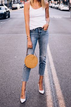 40225896c921 Woman Wearing Fashion Jackson Topshop White Rib Camisole Nordstrom Ripped  Ankle Crop Jeans Gianvito Rossi White