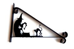 Witch, Cauldron & Cat Silhouette Scroll Style Hanging Basket Bracket Solid Steel