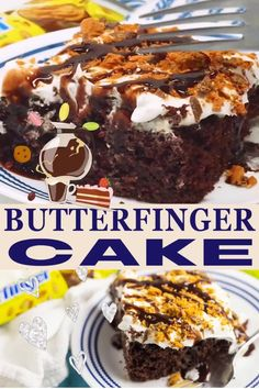 This rich, decadent, sweet Butterfinger Cake is moist, irresistible, and so easy to make. A chocolate boxed cake mix is baked and then poked with fork tines before a sweet, gooey caramel and sweetened condensed milk is poured on top. Top with a light, fluffy whipped topping mixed with Butterfinger candy bars for the best, simple, quick, and easy dessert that everyone will love! | The Gracious Wife @thegraciouswife #butterfingercake #holidaycakerecipe #butterfingerinspiredrecipes…