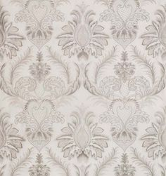 Eglinton Fabric A relief embroidered damask fabric in silver thread on a white linen background.