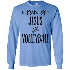 Ich laufe auf Jesus und Volleyball LS Tshirt - Do Keep Pins - Frau Volleyball Shirt Designs, Funny Volleyball Shirts, Volleyball Outfits, Volleyball Quotes, Volleyball Gifts, Volleyball Pictures, Volleyball Players, Softball Chants, Volleyball Accessories