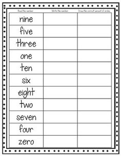 Number Word Assessment Freebie!