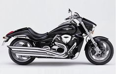 Suzuki ... 2006  SUZUKI BOULEVARD M109R  INTRUDER M1800    Suzuki's flagship V-Twin cruiser was designed by enthusiastic Suzuki engineers who drove across the US in their research. The heart of the machine was an all-new 1783cc V-Twin engine with 112mm bore and 90.5mm stroke made for the largest reciprocating pistons in any production passenger car or motorcycle. It also featured an inverted 46mm cartridge front forks and rear brake with dual-piston caliper.