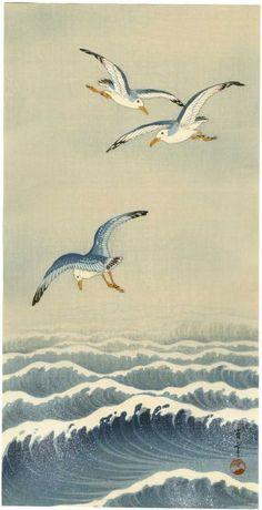 Seitei Japanese Woodblock Print Seagulls Over Waves 193