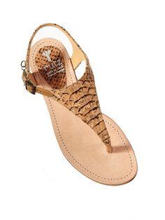 Tan Python Cork Flat Sandals - Rutz 2
