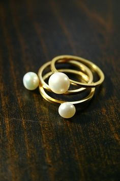 Pearl Ring Set (three). $135.00, via Etsy.