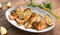This Grilled Lemon Butter Salmon Deserves An AwardDelish Grilled Fish Recipes, Healthy Grilling Recipes, Grilled Salmon, Baked Salmon, Salmon Recipes, Spinach Recipes, Shrimp Recipes, Crockpot Recipes, Salmon With Avocado Salsa