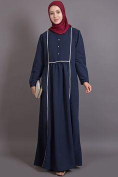 d1831e953c Description: Bohemian Contrast Lace Abaya, Navy, Bohemian /Classic Wear  This Bohemian casual