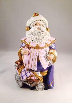 1990's Vintage Hand-Painted Ceramic Santa Claus Christmas Decoration Holiday