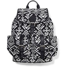Express Blanket Backpack ($70) ❤ liked on Polyvore featuring bags, backpacks, accessories, purses, bolsas, black, aztec print backpack, buckle backpack, black rucksack and aztec bag