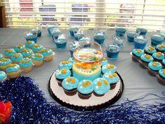 Goldfish birthday treat table Evans First Bday Ideas