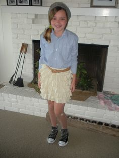#Kid style, #JCrew ruffle skirt paired with knit Gap beanie and black Converse....